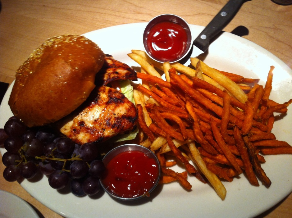 Grilled Chicken, we also shared this & our waitress was amazing! She let us have both sweet potato fries and regular fries :)