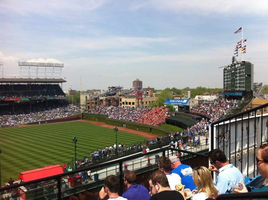 Mets fans at Wrigley Field view from Skybox on Sheffield