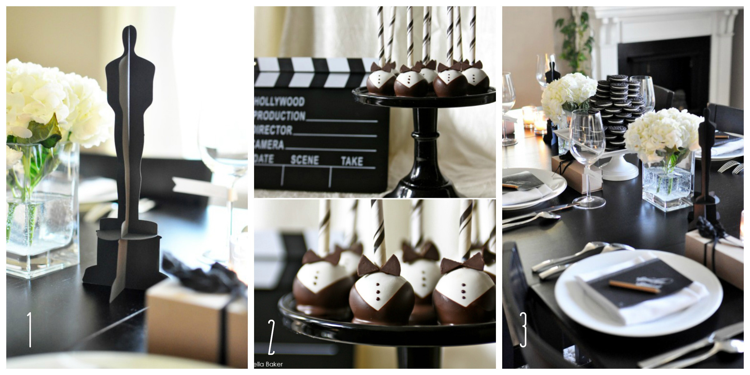 Oscar Themed Party Decoration Ideas Part - 46: The Oscars- Black U0026 White Decorations