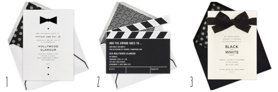 The Oscars- Black & White Invitations