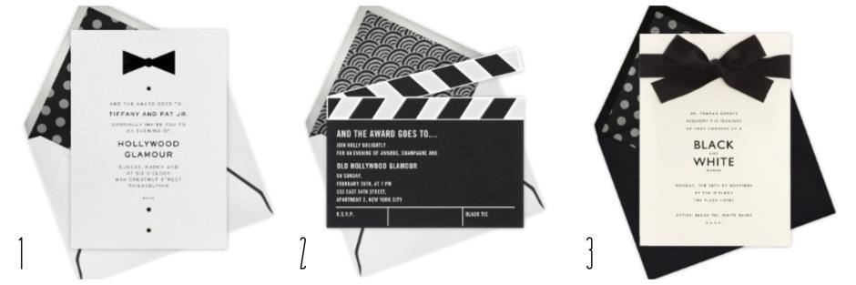 The Oscars- Black & White Invitations